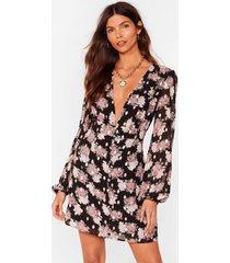 womens summer days plunging floral mini dress - black