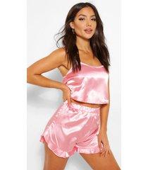 satijnen hemdje en shorts set, roze