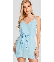 yoins mini vestido azul liso con cuello en v sin mangas con diseño de corbata