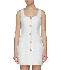 button embellished tweed dress