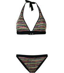 missoni mare reversible woven striped bikini - black
