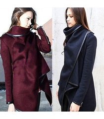 women winter cashmere overcoat coats fur manteau long sleeve irregular shawl col