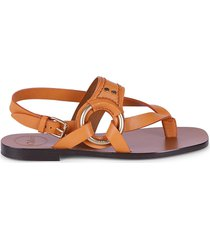 chloé women's demi leather thong sandals - black - size 36 (6)