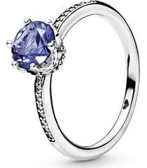 anel solitário real azul