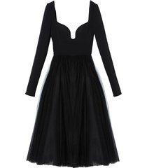 sweetheart neckline a-line dress in black