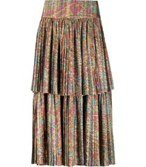 a.n.g.e.l.o. vintage cult 1990s abstract printed pleated skirt - pink