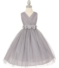 silver v-neck pleated crystal tulle bridesmaid pageant party flower girl dress
