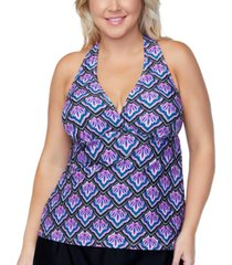 island escape plus size underwire tankini top, created for macys women's swimsuit