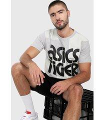 camiseta blanco-gris-negro asics
