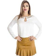 blusa manga longa detalhes dourados colcci feminina