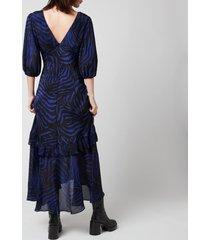 rixo women's cheryl dress - zebra navy - l