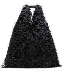 mm6 maison margiela faux-fur shoulder bag - black