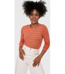 camiseta manga larga naranja-café gap