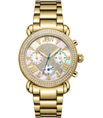 jbw women's victory diamond (3/4 ct.t.w.) 18k gold plated stainless steel watch