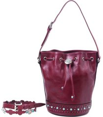 old trend turquoise cove leather bucket bag
