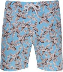 pantalóneta de baño hojas color azul, talla s