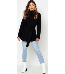 belted high neck sweater, black