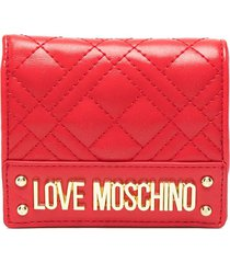 love moschino logo-plaque quilted wallet - red