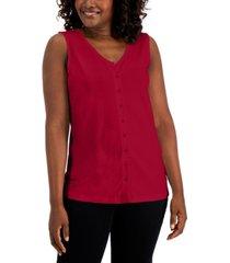 karen scott button sleeveless top, created for macy's