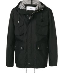 hooded pocket jacket black