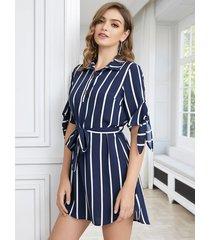 yoins botón azul marino diseño medias mangas de rayas vestido