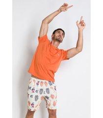 pijama manga curta acuo pijama manga curta laranja - laranja - masculino - dafiti