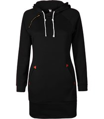 fashion autumn dress women hoodie black dress pocket long sleeve mini dress