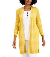 kasper 3/4-sleeve striped open-front cardigan