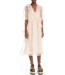 women's simone rocha asymmetrical ruffle silk organza midi dress