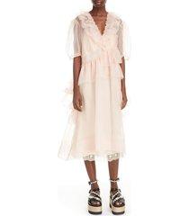 women's simone rocha asymmetrical ruffle silk organza midi dress, size 8 us / 12 uk - pink