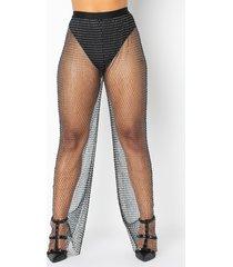 akira life in the sparkle filter rhinestone net wide leg pants