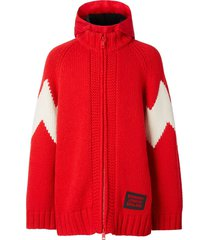 burberry detachable hood cardigan - red
