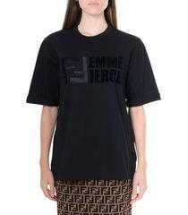 fendi black cotton t shirt with logo