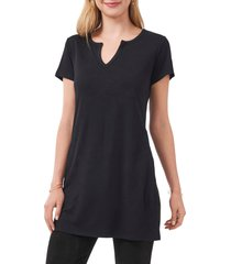 vince camuto side knot tunic top, size large in rich black at nordstrom