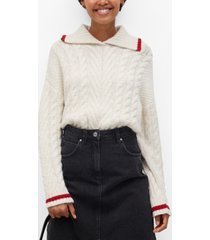 mango women's contrasting knit sweater