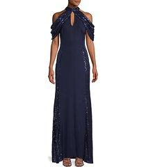 sequin cold-shoulder gown