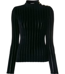 balmain velvet striped turtleneck top - black