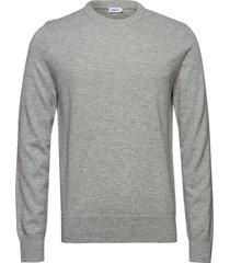 m. cotton merino basic sweater gebreide trui met ronde kraag grijs filippa k