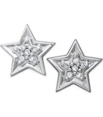 10k white gold earrings, diamond accent star stud earrings
