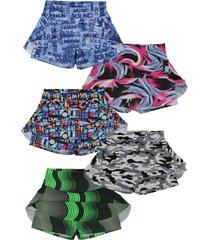 shorts saia plus size kit 5 peã§as moda fitness academia - azul/camuflado/multicolorido/rosa - feminino - poliã©ster - dafiti