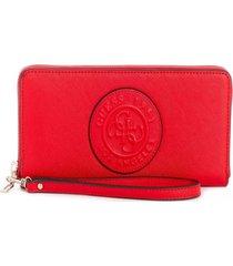 billetera celestine slg large zip around rojo guess