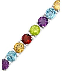 blue topaz sterling silver bracelet (20 ct. t.w.) (also available in amethyst, garnet and multi-stone)