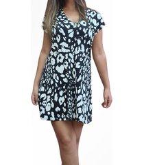 vestido animal print corto negro/blanco mlk