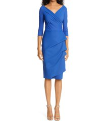 women's chiara boni la petite robe florien ruched cocktail dress, size 2 us - blue