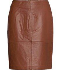 slfolly skirt knälång kjol brun soaked in luxury