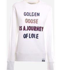 golden goose cotton sweatshirt with multicolor sequin detail