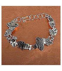 sterling silver link bracelet, 'skeletal hat dance' (mexico)