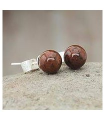 mahogany obsidian stud earrings, 'enigma' (peru)