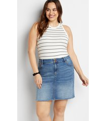 maurices plus size womens vintage high rise blue denim skirt