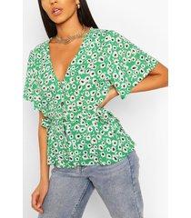 woven button through blouse, green